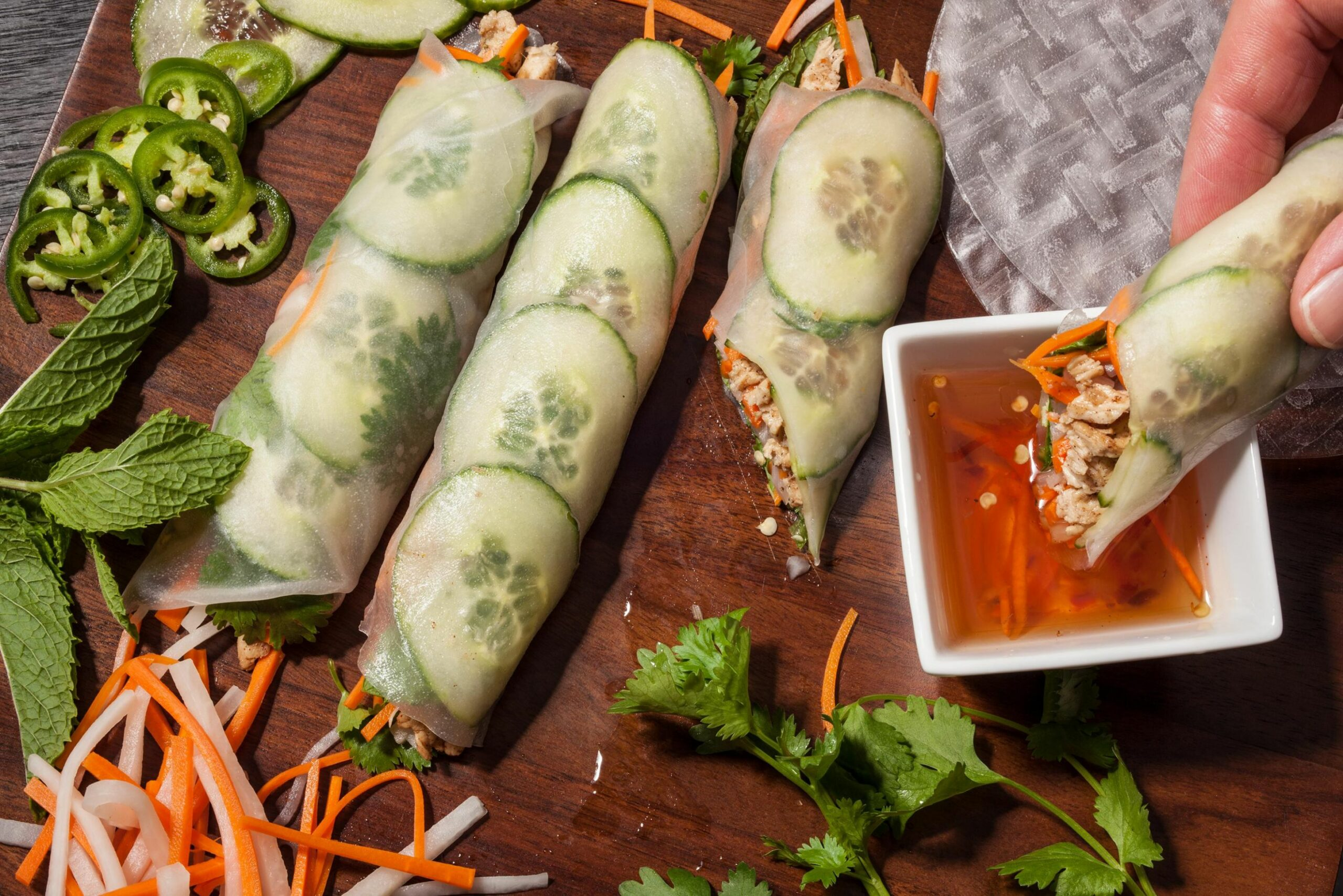 Rice Paper Banh Mi with Five-Spice Chicken - Recipes Rice Wraps