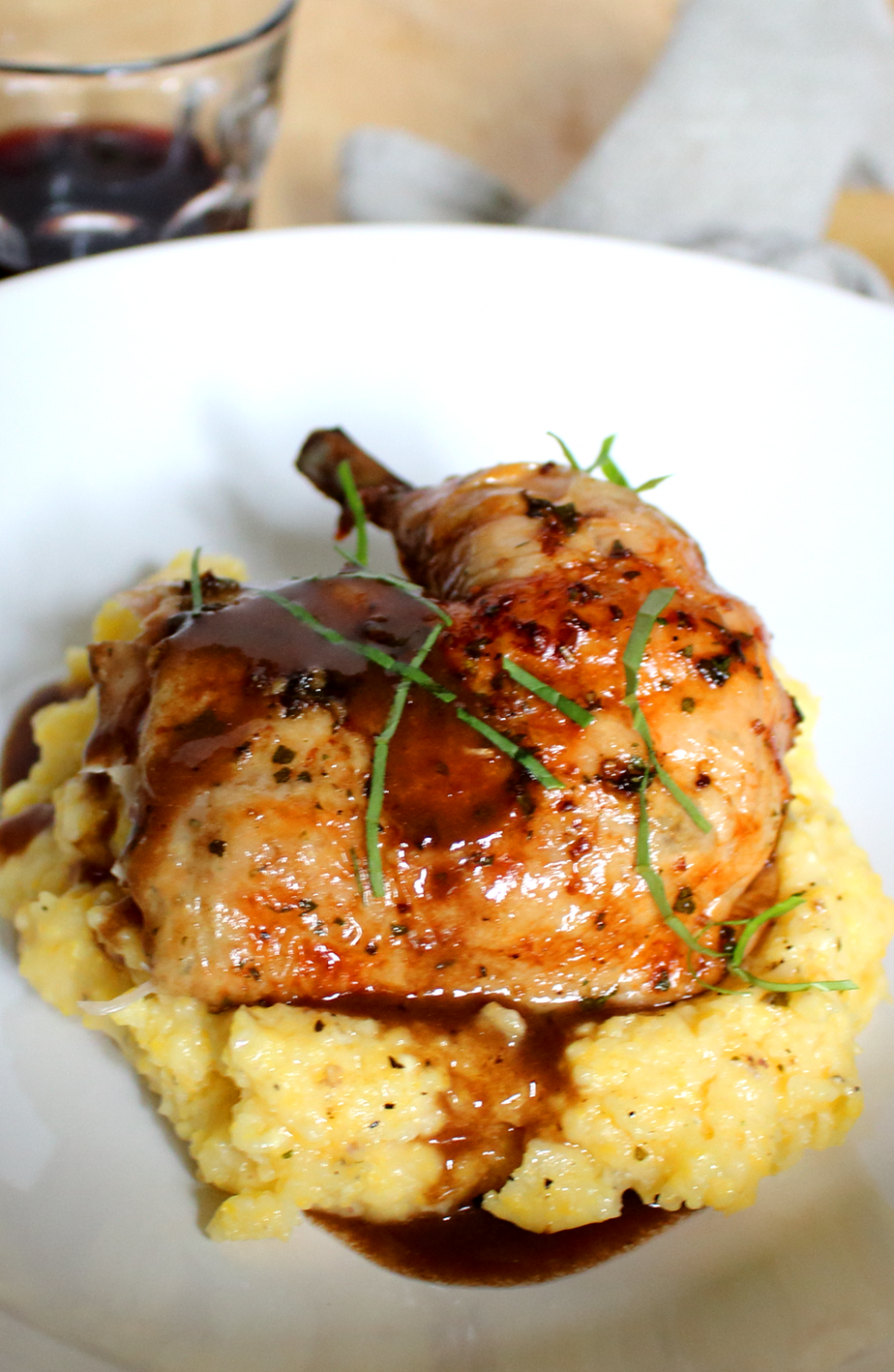 Roast Chicken with Red Wine Demi-Glace and Polenta - Dinner Recipes Gourmet