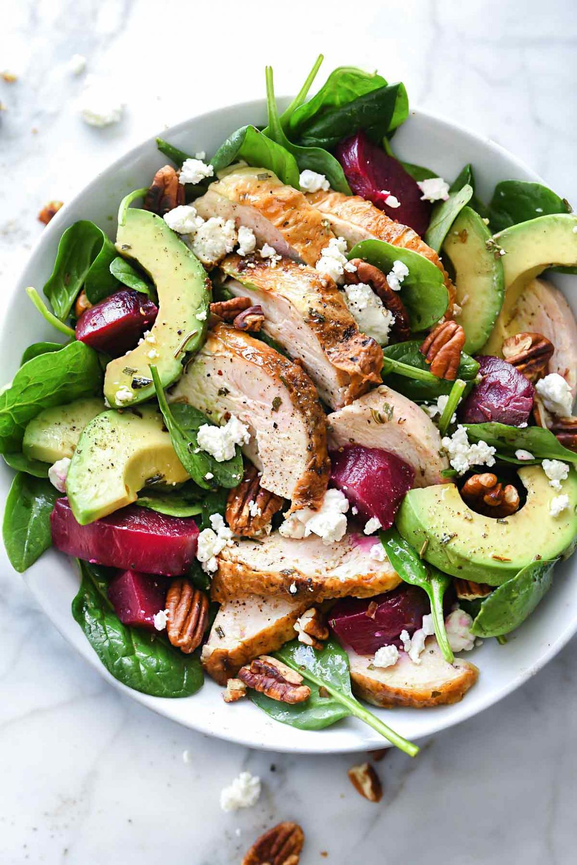 Roasted Beet, Avocado and Goat Cheese Spinach Salad with Chicken