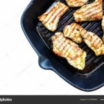 Roasted Chicken Breast Grill Pan Top View Isolated White — Stock ..