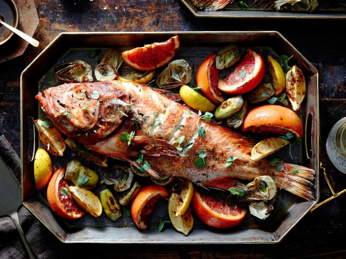 Roasted Rockfish with Artichokes, Citrus, and Lemon-Caper Browned Butter - Rockfish Recipes