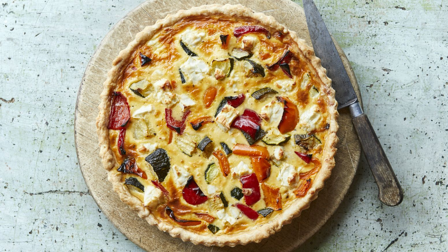Roasted summer vegetable and feta quiche - Summer Quiche Recipes Uk
