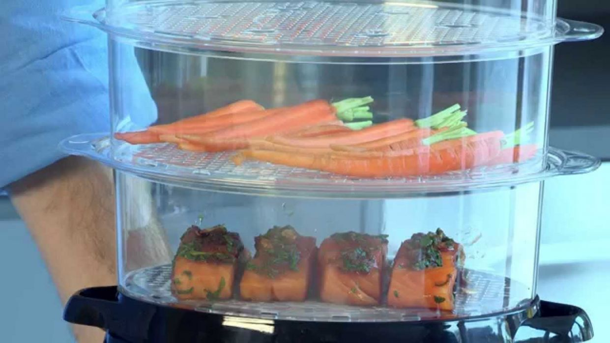 Russell Hobbs Food Steamer | Steamed Salmon with Steamed Vegetables - Food Recipes Using Steamer