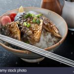 Saba Mackerel Fish Grill With Teriyaki Sauce On Rice In Japanese ..