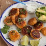 Salmon Fish Cakes with Avocado and Yogurt & Lime Dressing