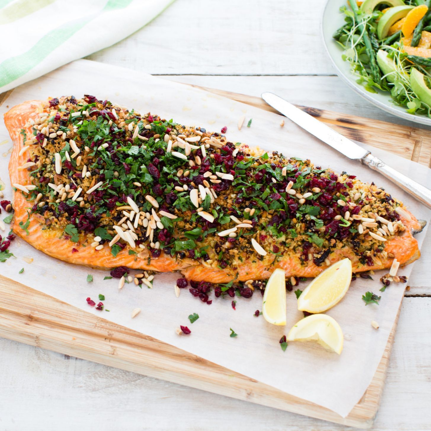 Salmon with cranberry, parsley and nut crust - Fish Recipes For Xmas Dinner
