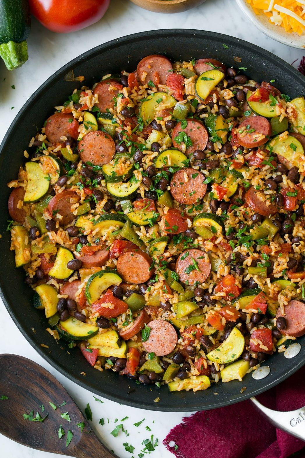 Sausage Zucchini and Brown Rice Skillet (One Pan Recipe) - Recipes Rice And Sausage