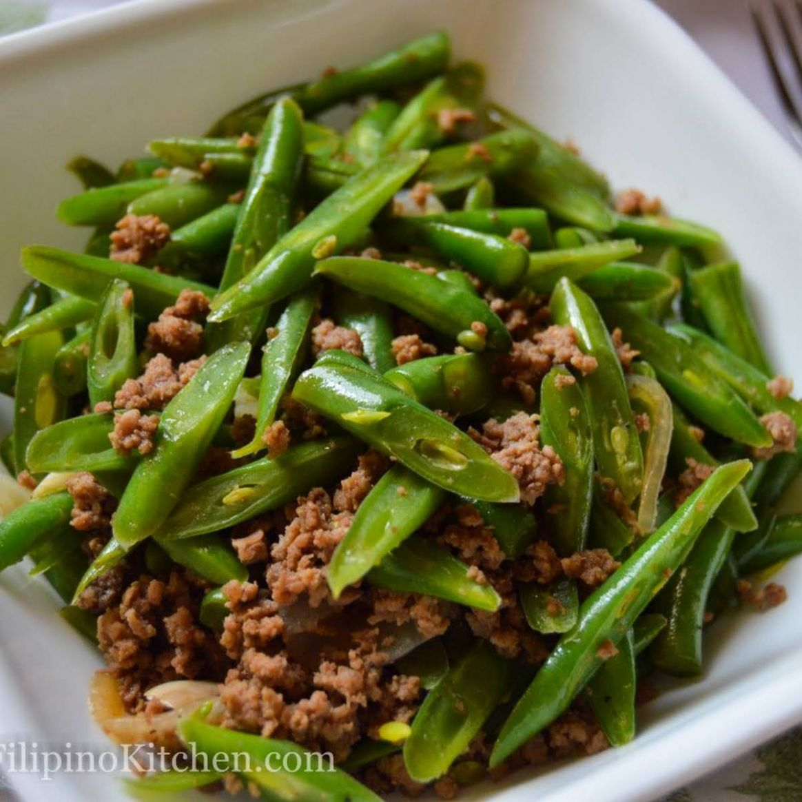 Sautéed Green Beans With Ground Beef (Filipino-style Ginisang Baguio Beans) - Vegetable Recipes Filipino