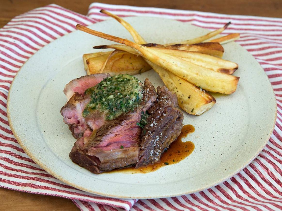 Scotch Fillet Steak with Herb Butter & Parsnip Wedges Recipe ..