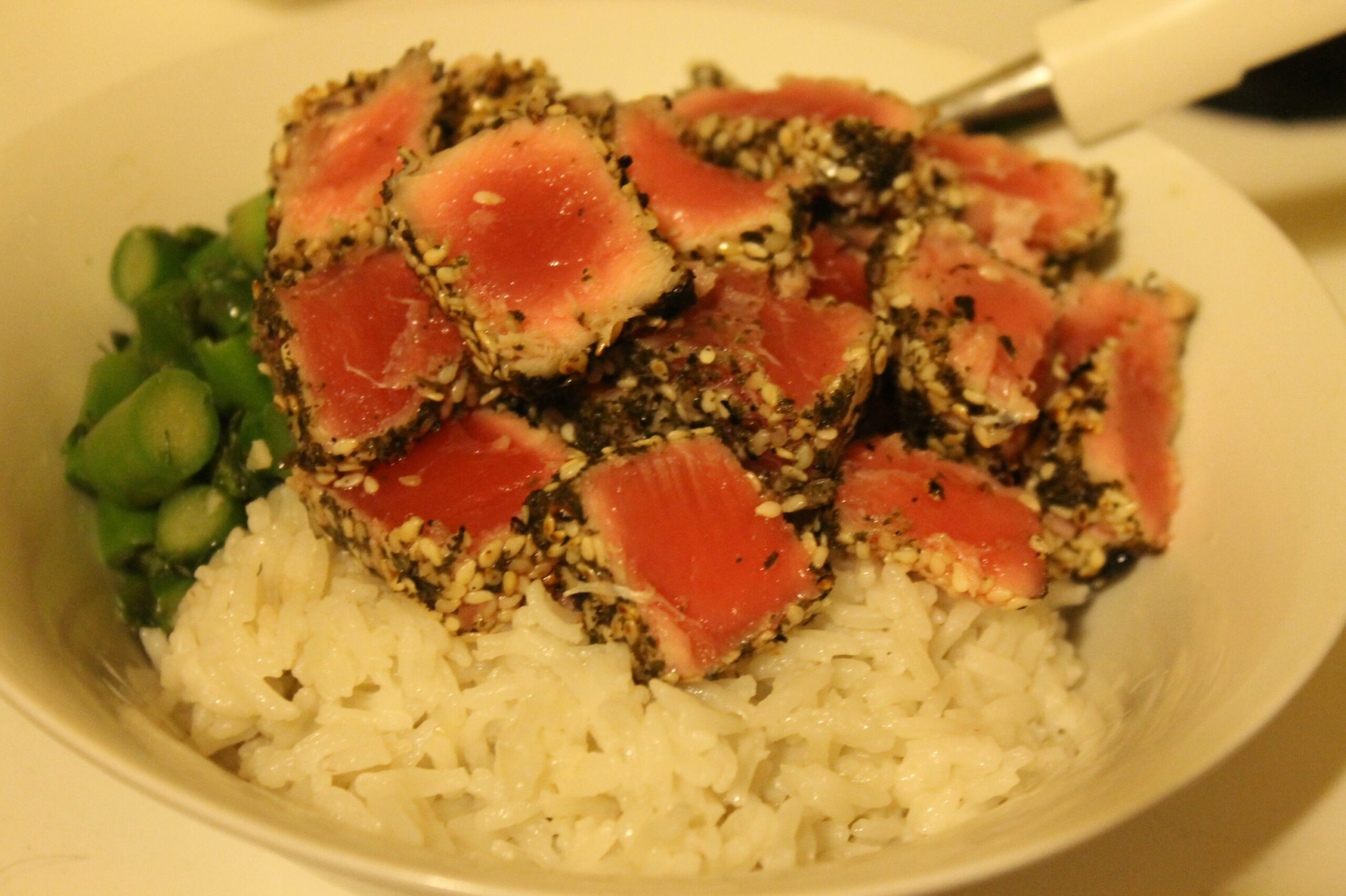Seared tuna with greens and coconut rice | Urban Feast - Rice Recipes Jamie Oliver