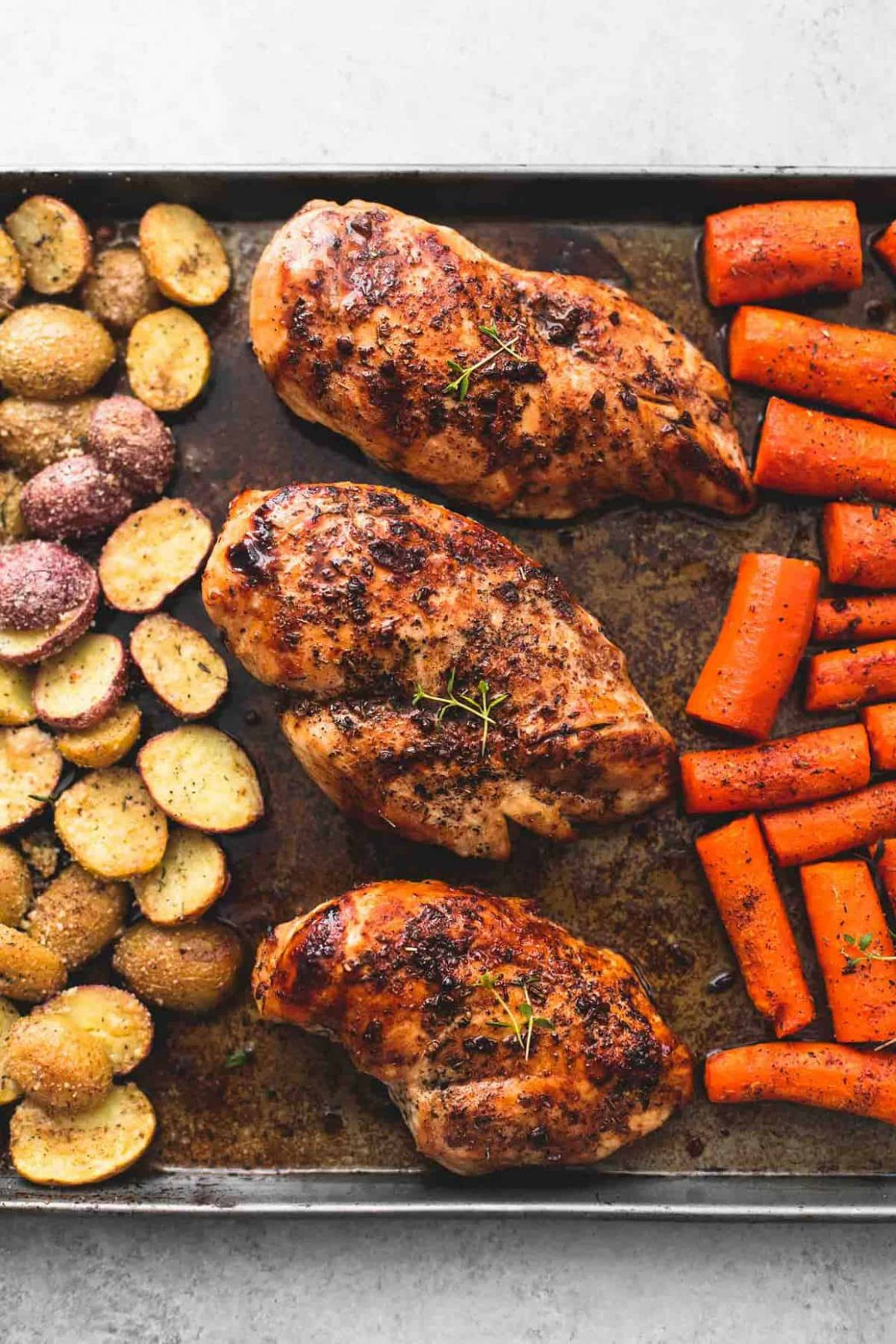 Sheet Pan Balsamic Chicken with Potatoes and Carrots - Recipes Chicken Breast With Potatoes
