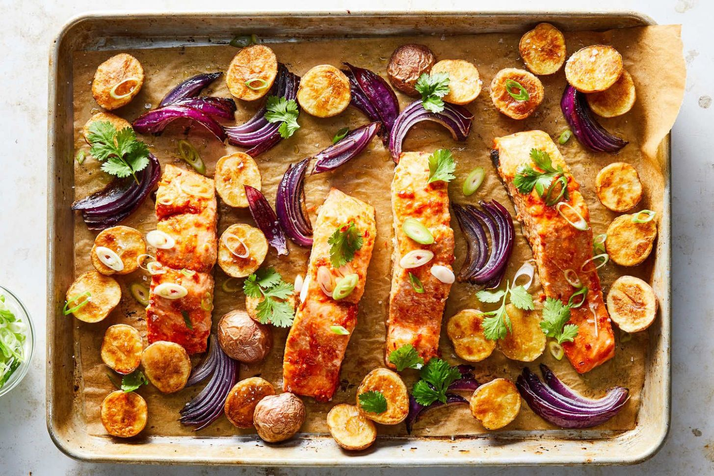 Sheet-Pan Harissa Salmon With Potatoes and Citrus | Recipe ..