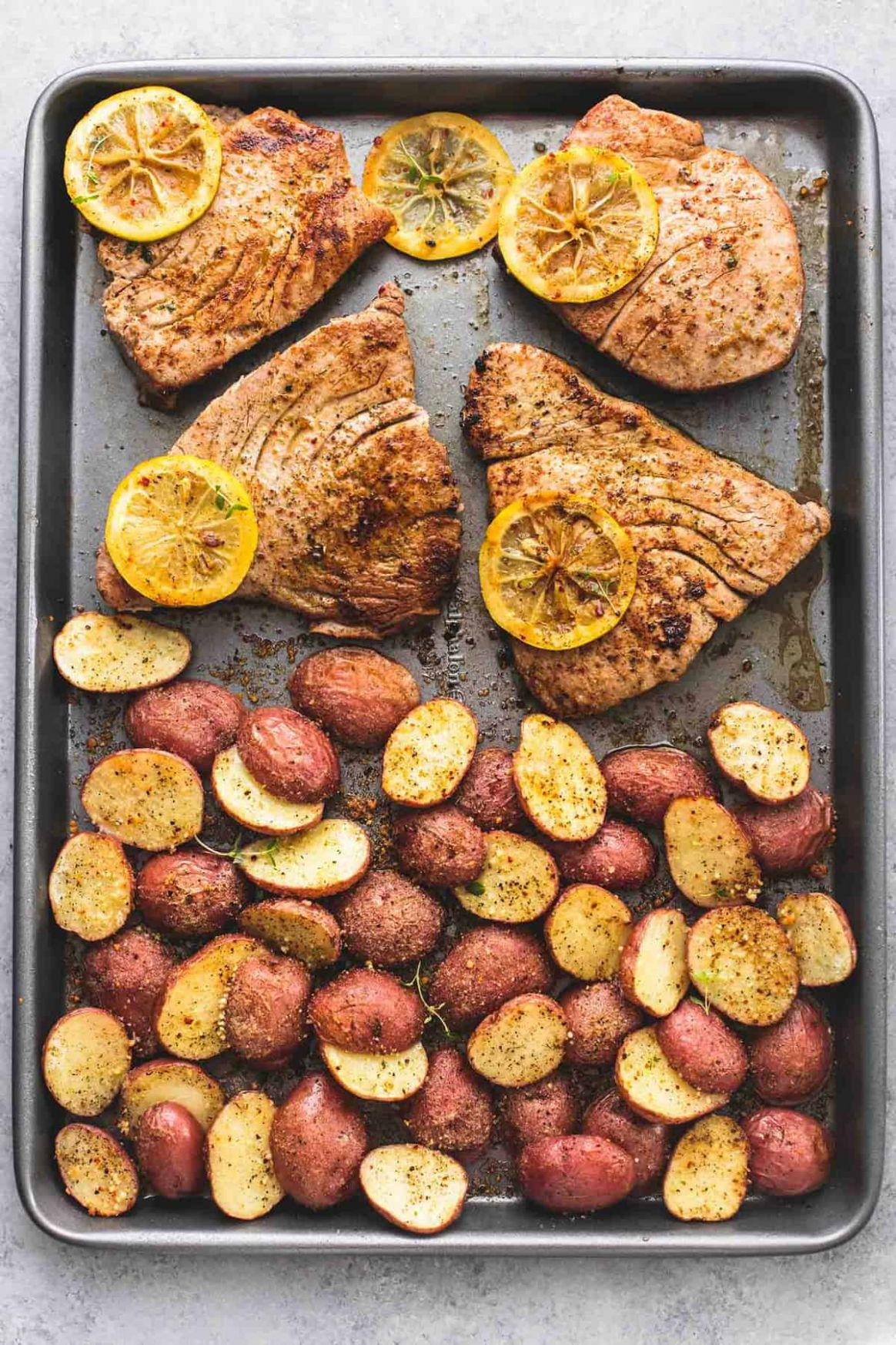 Sheet Pan Lemon Herb Tuna Steaks and Potatoes | Creme De La Crumb