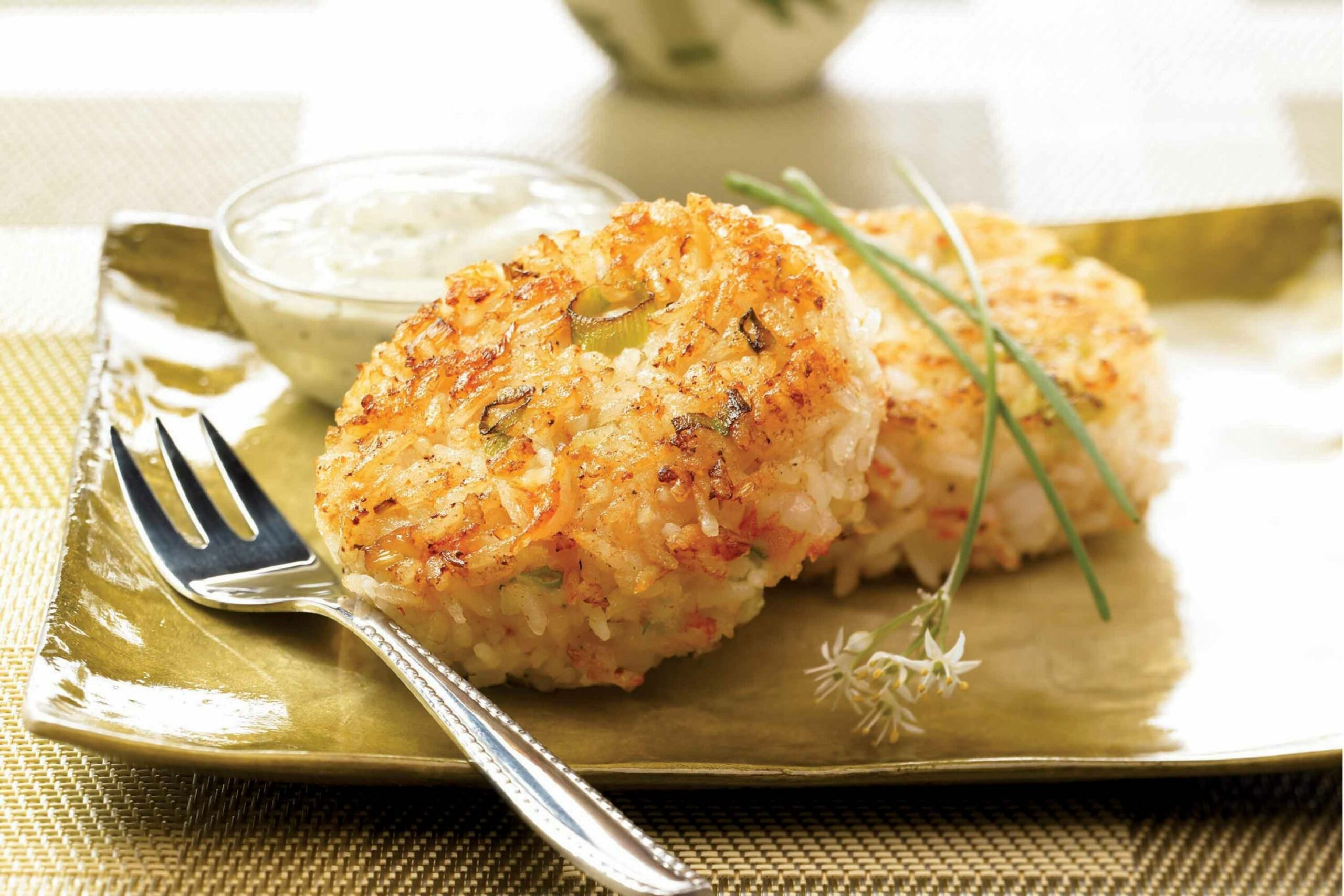Shrimp and Rice Patties with Creamy Cilantro Sauce | Think Rice - Recipes Rice Patties