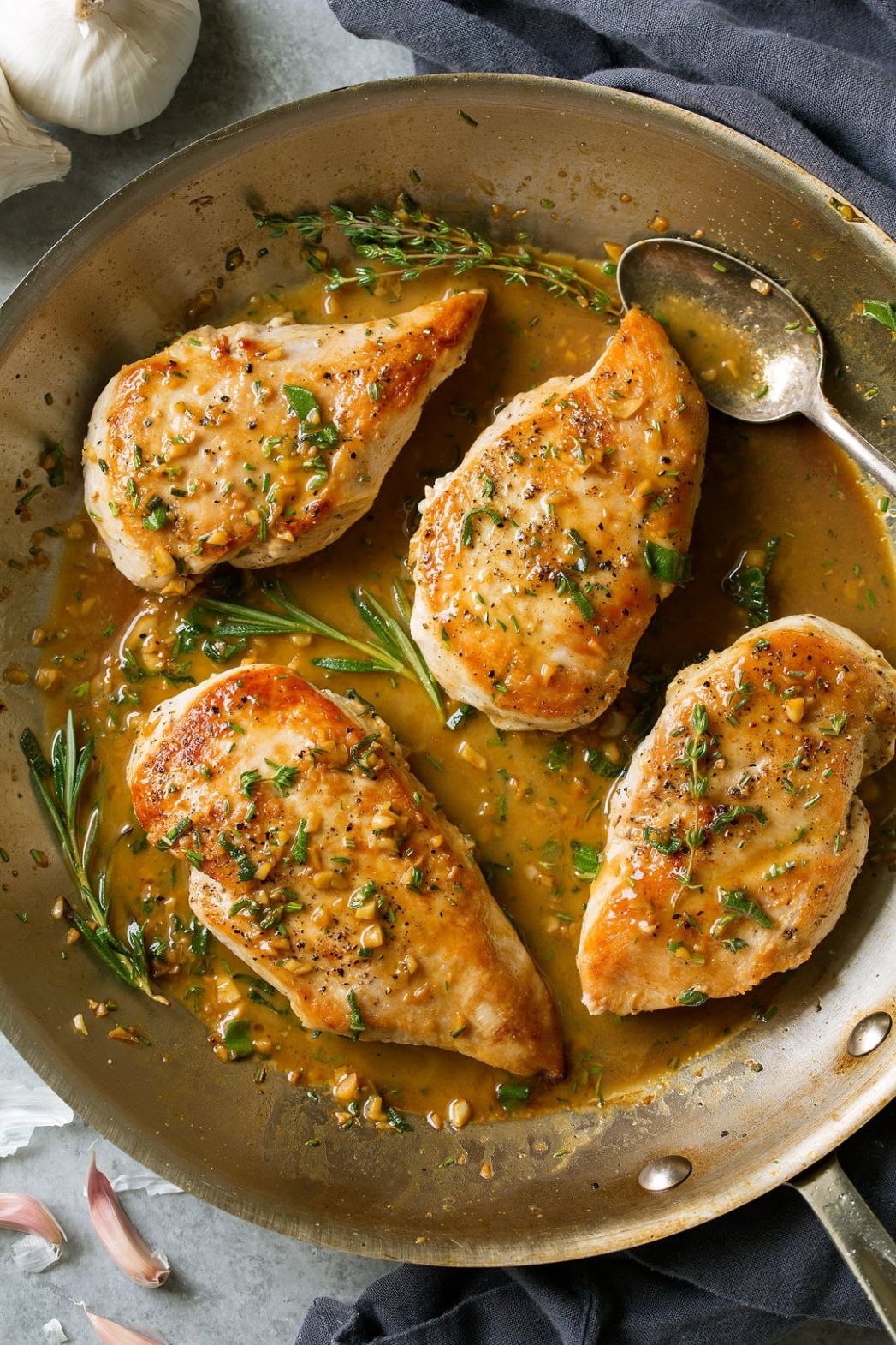 Skillet Chicken Recipe with Garlic Herb Butter Sauce - Cooking Classy - Recipes Chicken Breast Skillet
