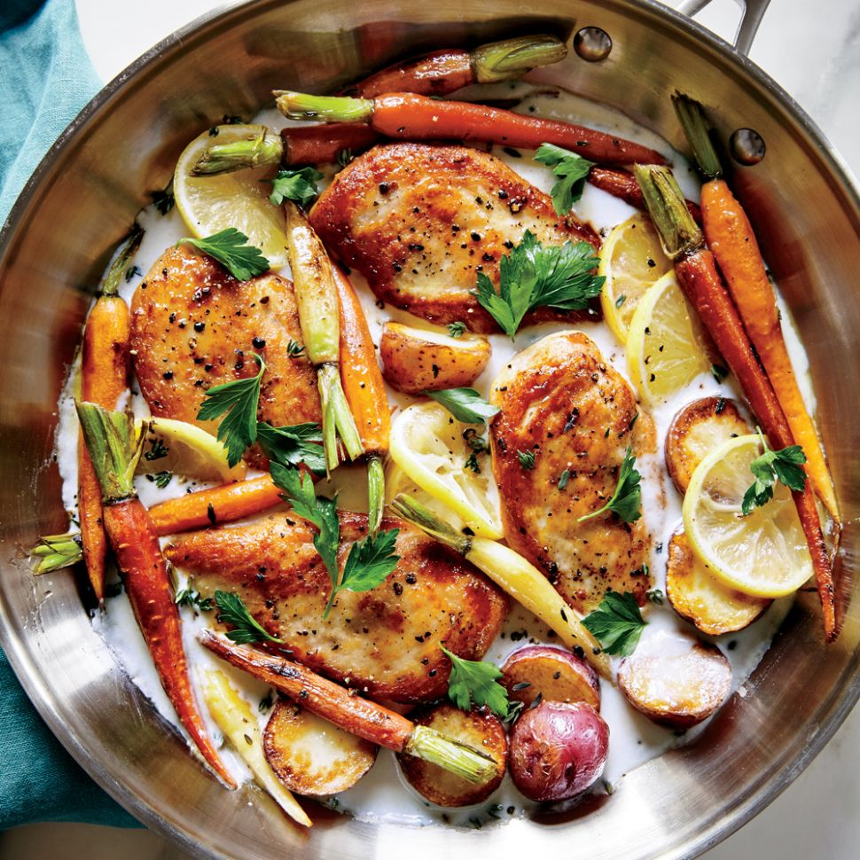 Skillet Chicken with Roasted Potatoes & Carrots Recipe | MyRecipes - Recipes Cooking Light
