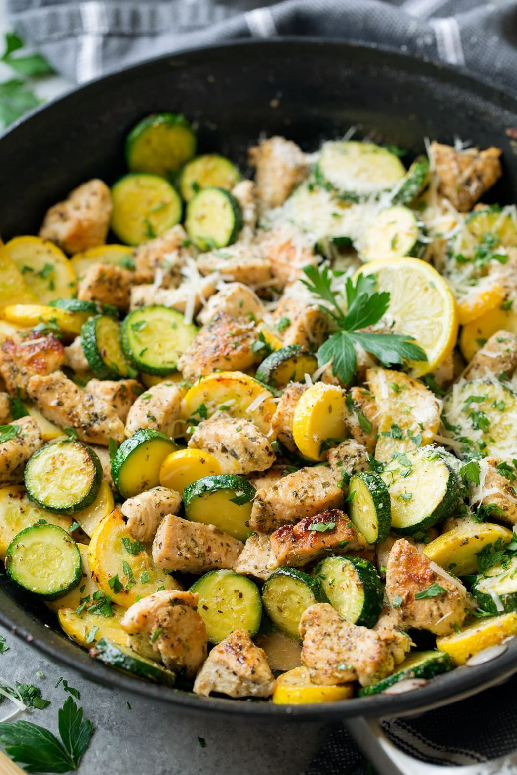 Skillet Lemon Parmesan Chicken with Zucchini - Cooking Classy - Recipes Chicken Breast Squash Zucchini