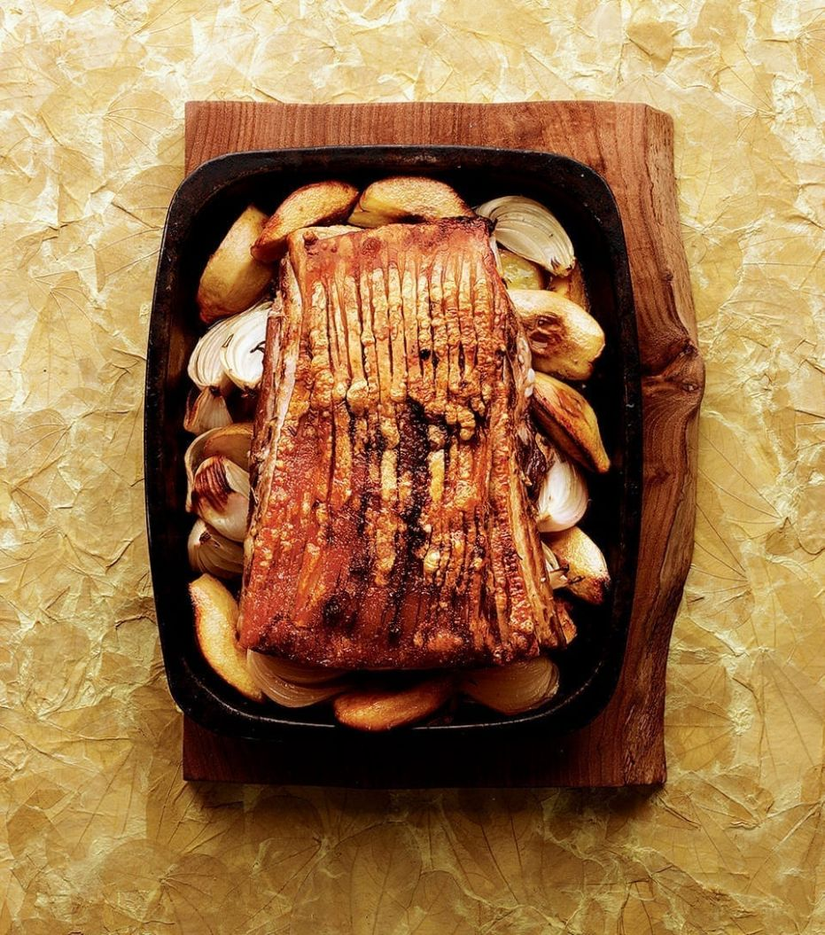 Slow-roast pork belly with quince recipe   delicious