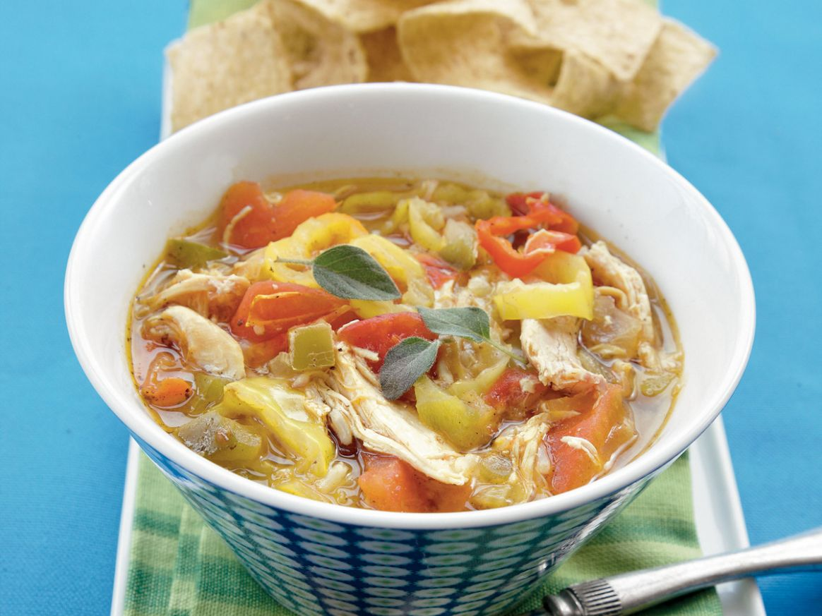 Smoked Chicken-Banana Pepper Soup Recipe - Soup Recipes Yellow Peppers