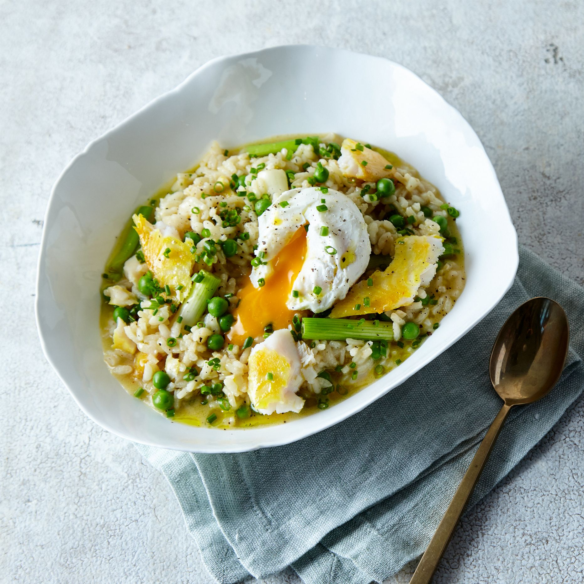 Smoked Fish & Pea Risotto, Poached Egg - Recipe Fish Risotto