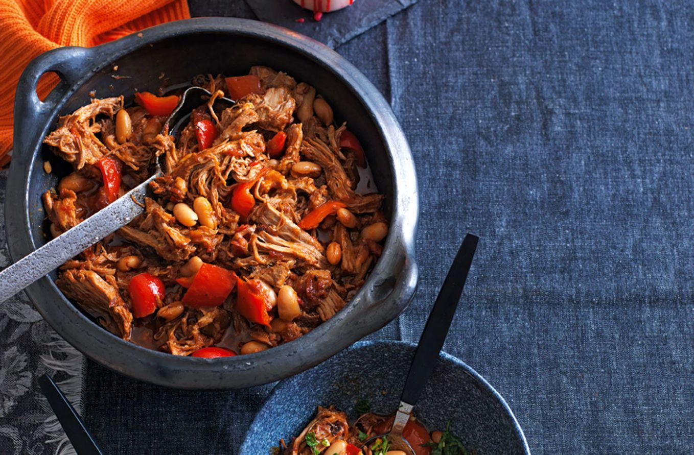 Smoky pulled pork stew with beans, peppers and orange gremolata