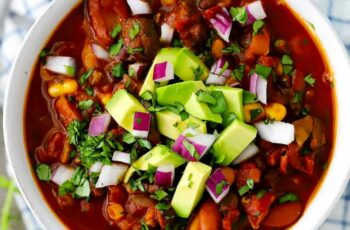 Smoky Vegetarian Chili with Beans and Mushrooms