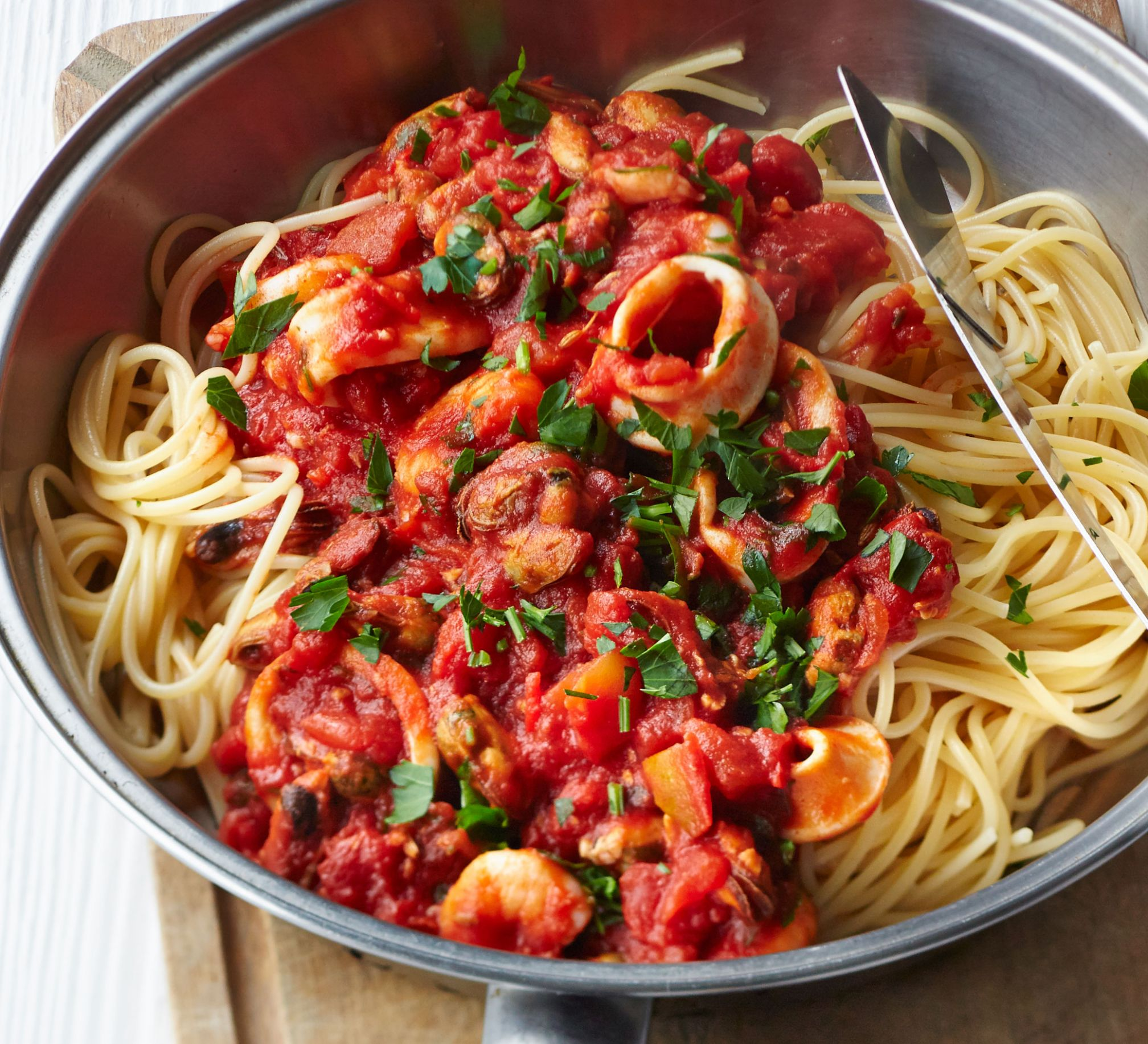 Spaghetti with smoky tomato & seafood sauce - Pasta Recipes In Red Sauce