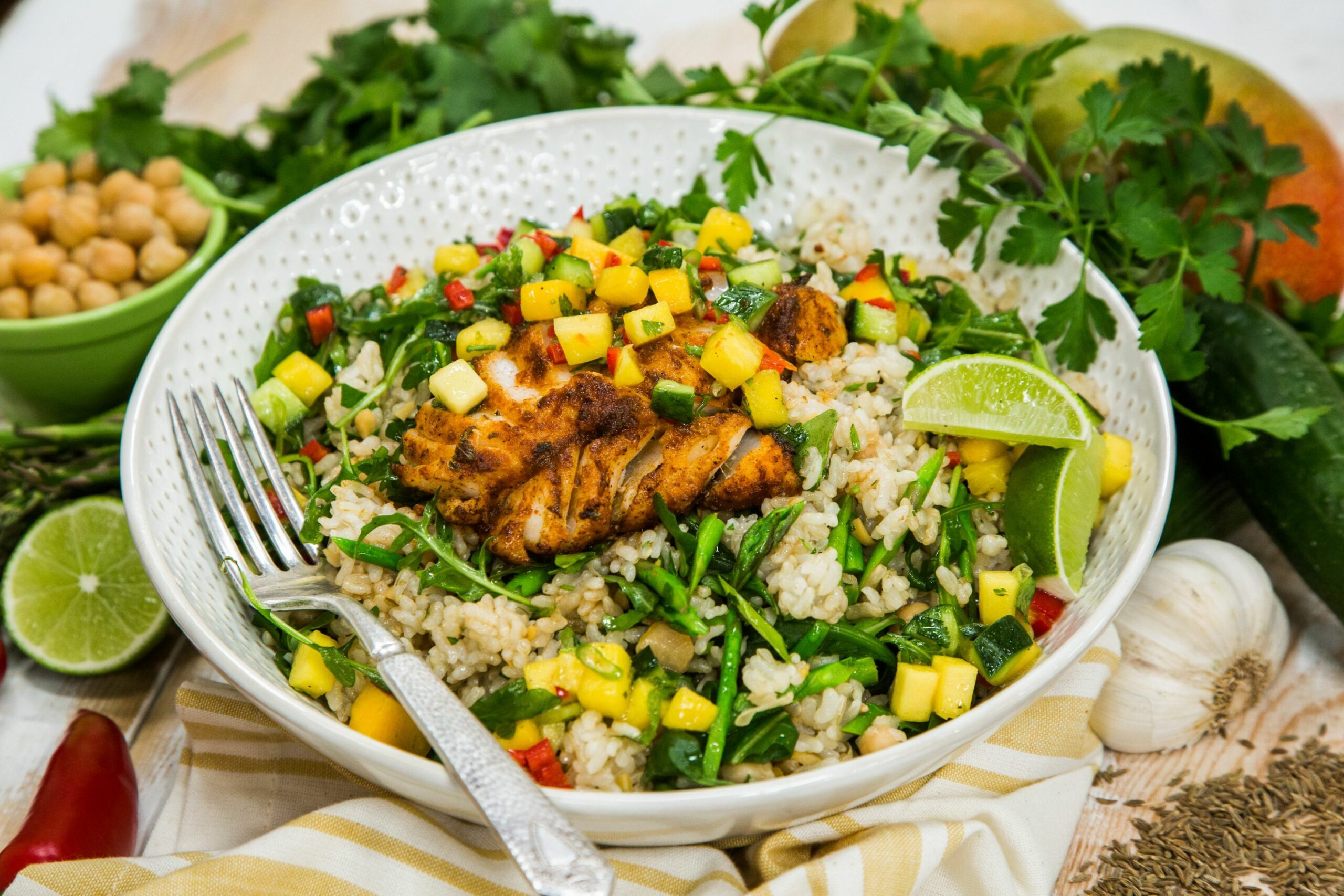 Spiced Fish with Mango Salsa and Brown Rice Salad - Recipe Fish With Mango Salsa