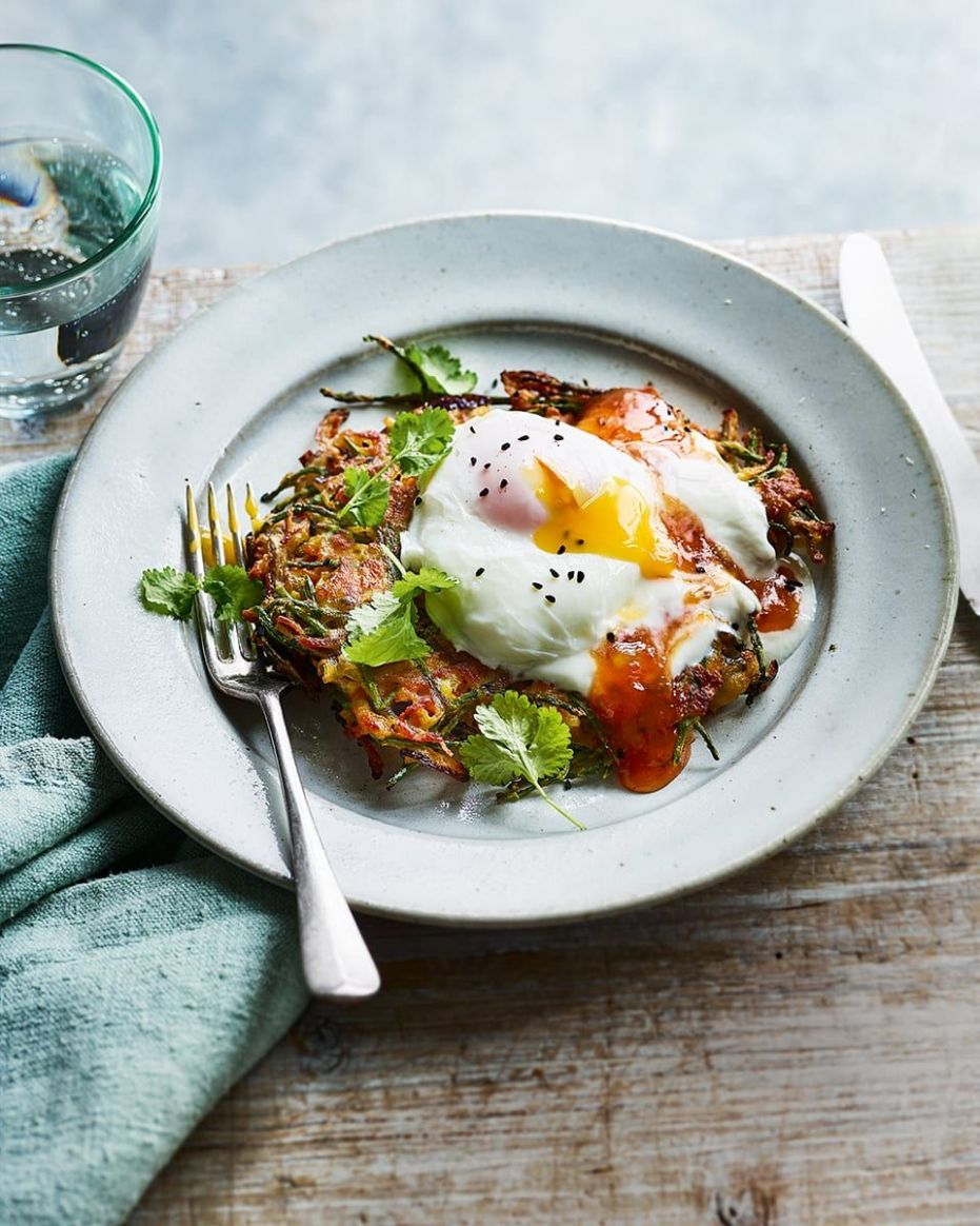 Spiced onion fritters with poached eggs - Healthy Recipes Delicious Magazine
