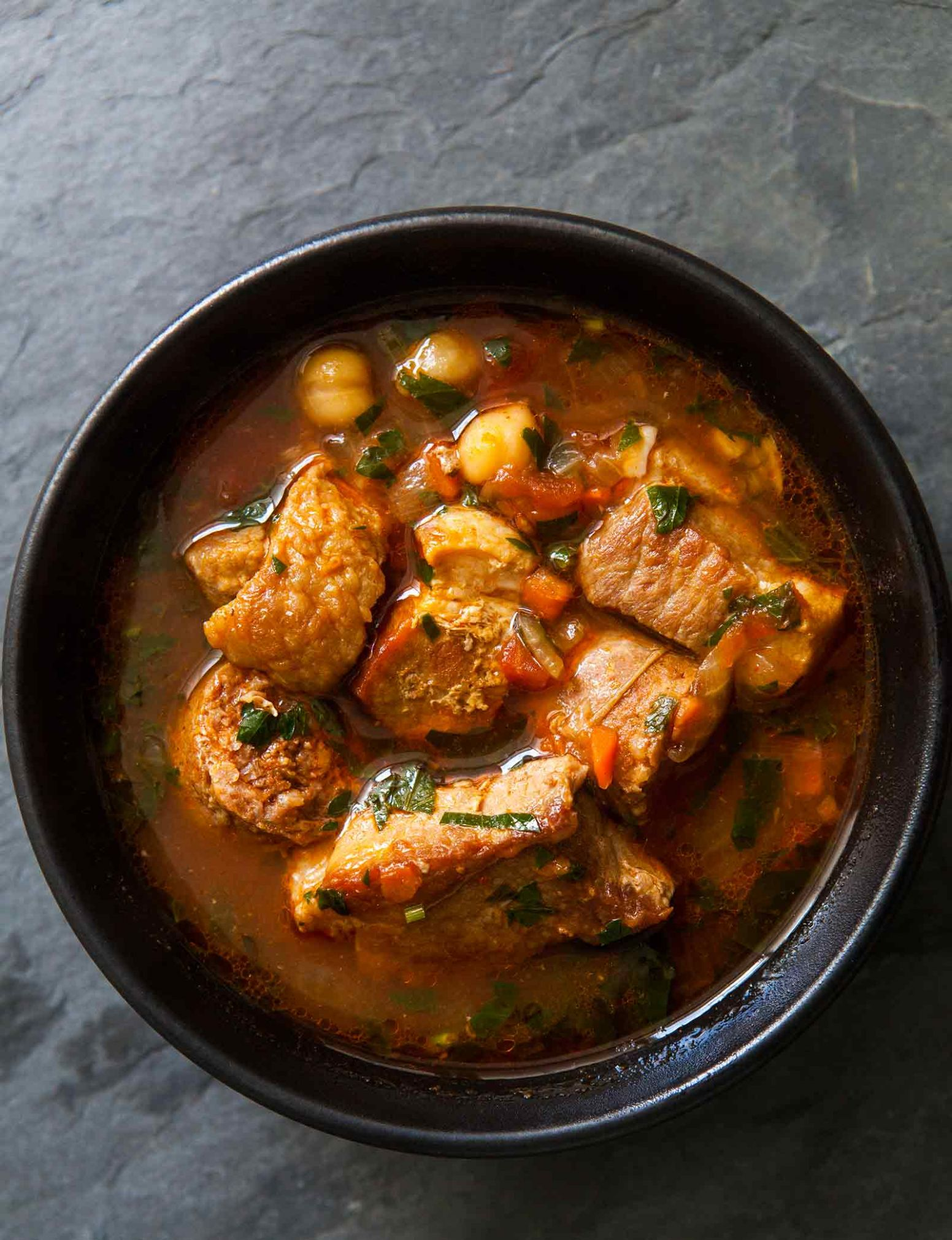 Spicy Pork Stew with Chickpeas and Sausage - Recipes Pork Pieces
