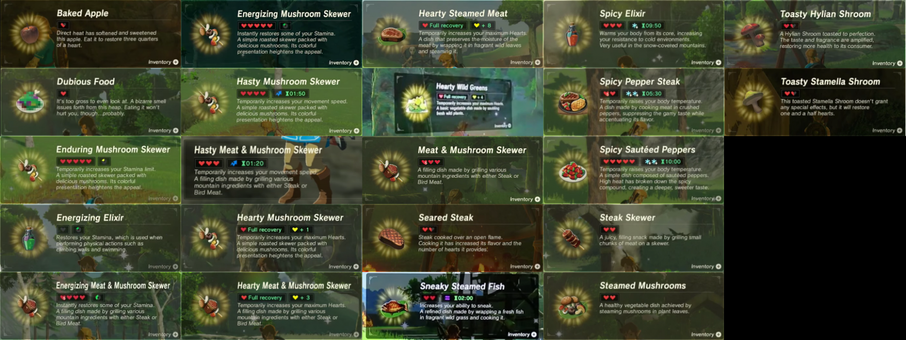 """SPOILERS] Breath of the Wild - Here s every """"Cooked Food"""" meal we .."""