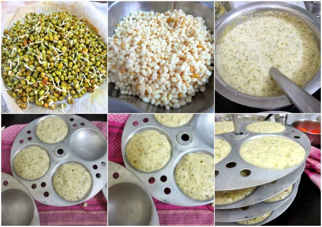 Sprouted Moong Dal Idli - Breakfast Recipes Healthy Indian
