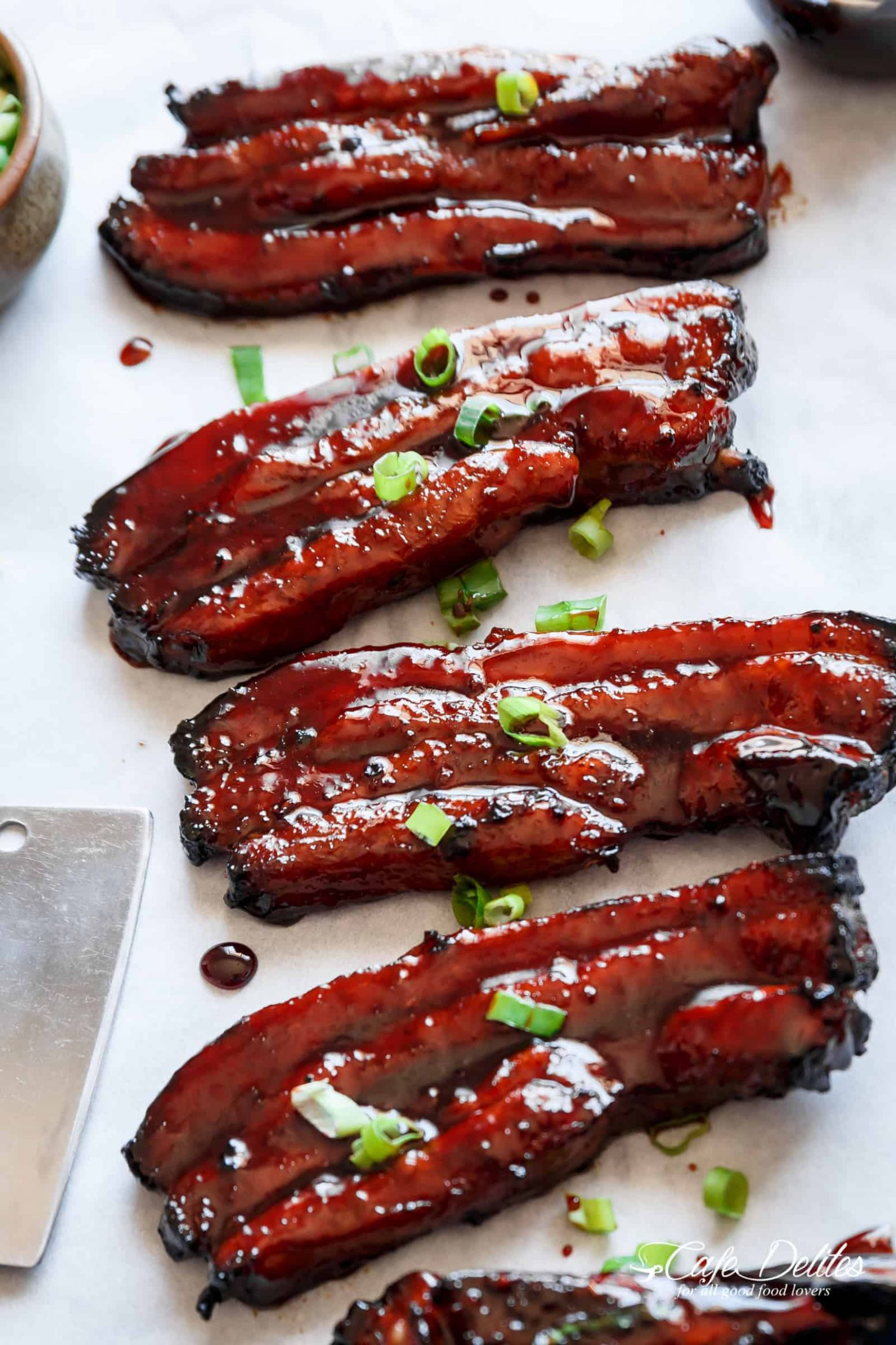 Sticky Chinese Barbecue Pork Belly (Char Siu) - Cafe Delites - Recipes Pork Strips