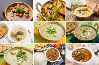 stock photo of collage of indian popular main course vegetable..