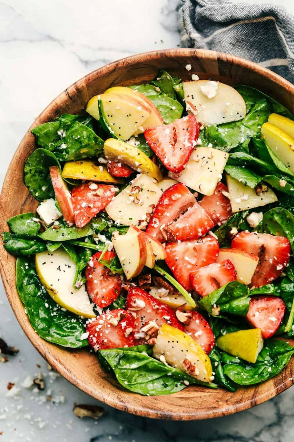 Strawberry, Apple, and Pear Spinach Salad with an Apple Cider Poppyseed  Dressing - Recipes Salad With Apples