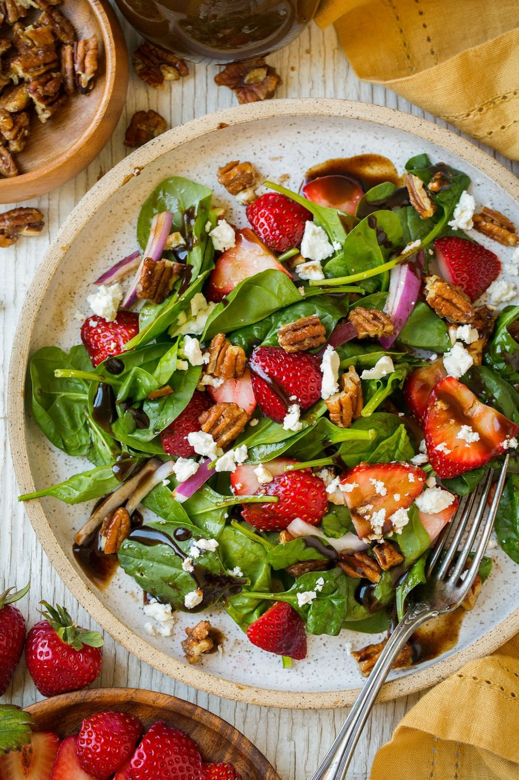 Strawberry Spinach Salad with Candied Pecans Feta and Balsamic Vinaigrette