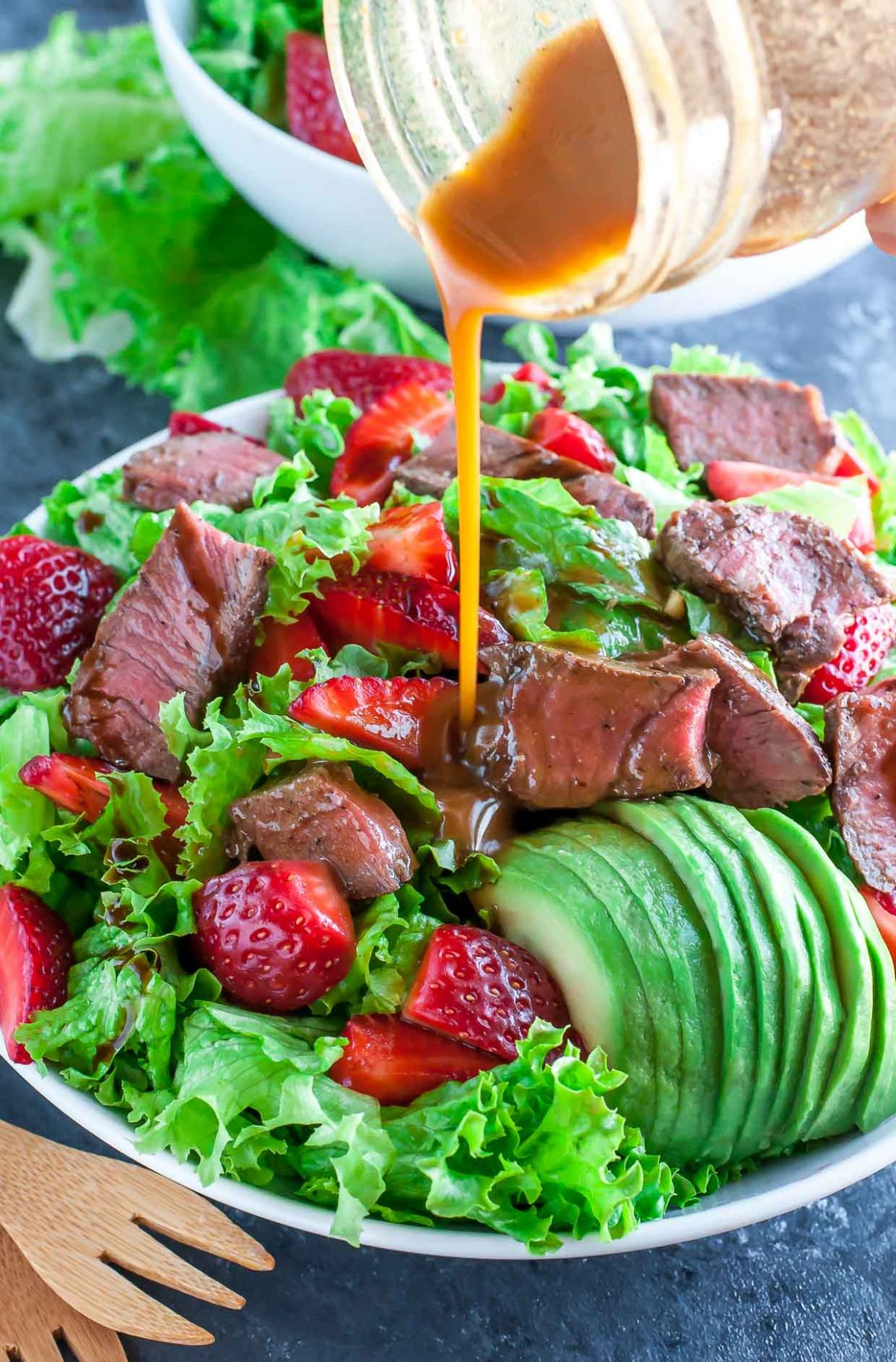 Strawberry Steak Salad with Homemade Balsamic Dressing - Salad Recipes To Go With Steak