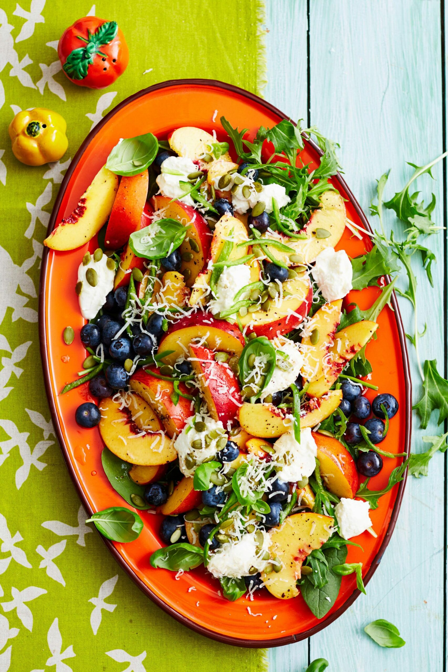 Summer salad of peaches and blueberries - Summer Xmas Recipes
