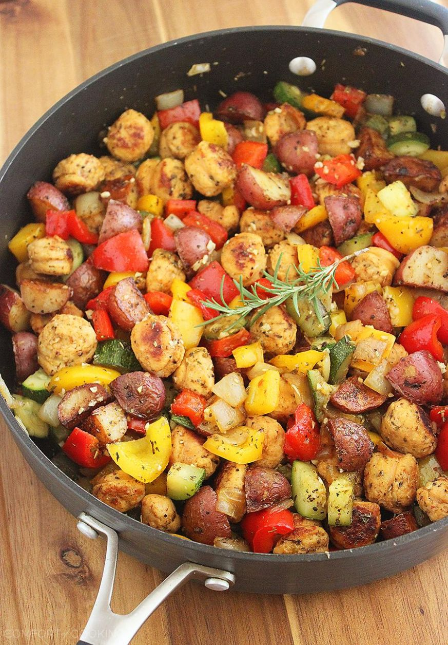 Summer Vegetable, Sausage and Potato Skillet - Recipes Using Summer Sausage
