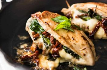 Sun Dried Tomato, Spinach & Cheese Stuffed Chicken Breast