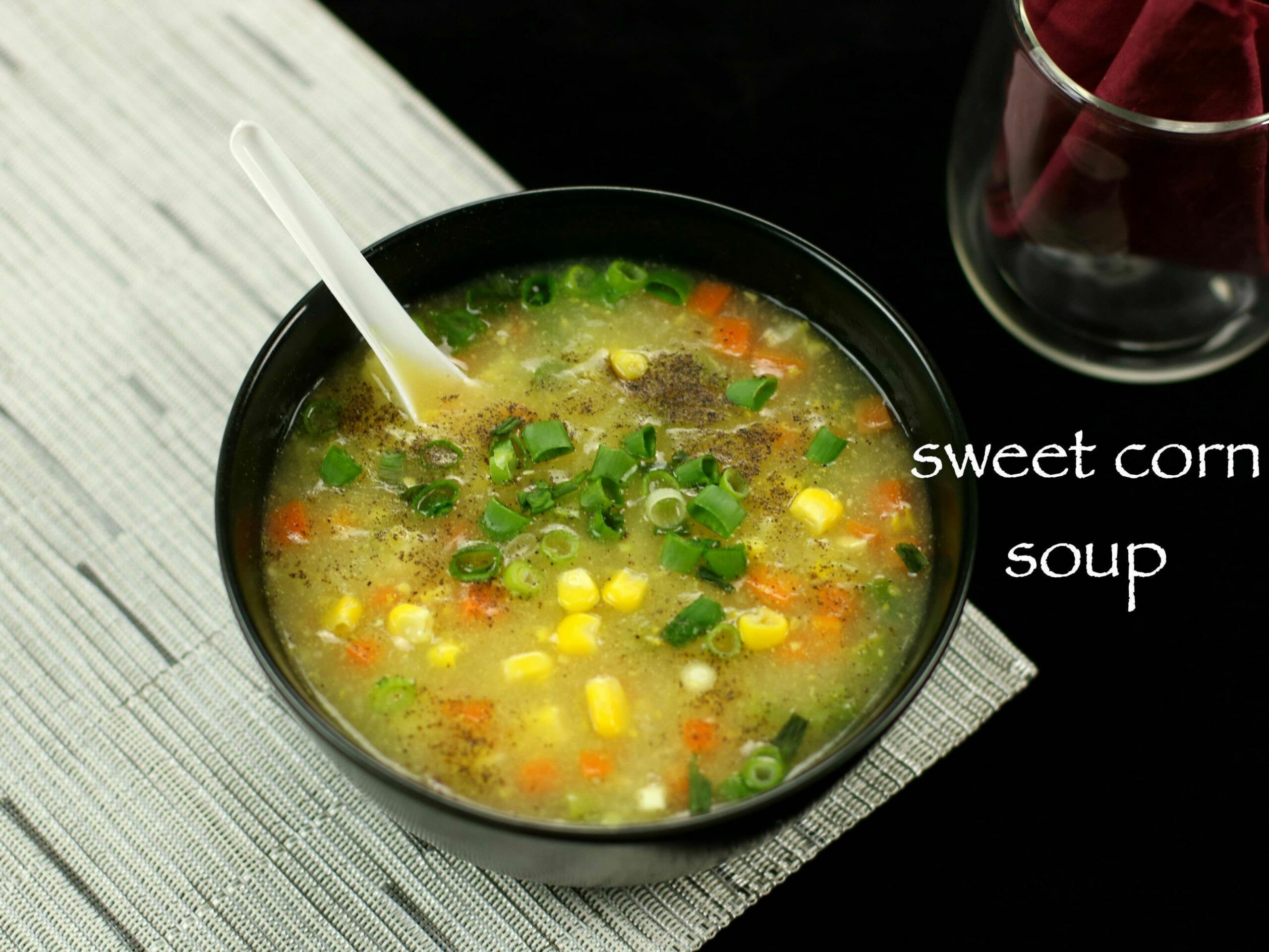 Sweet corn soup recipe | sweet corn veg soup | chinese sweet corn soup