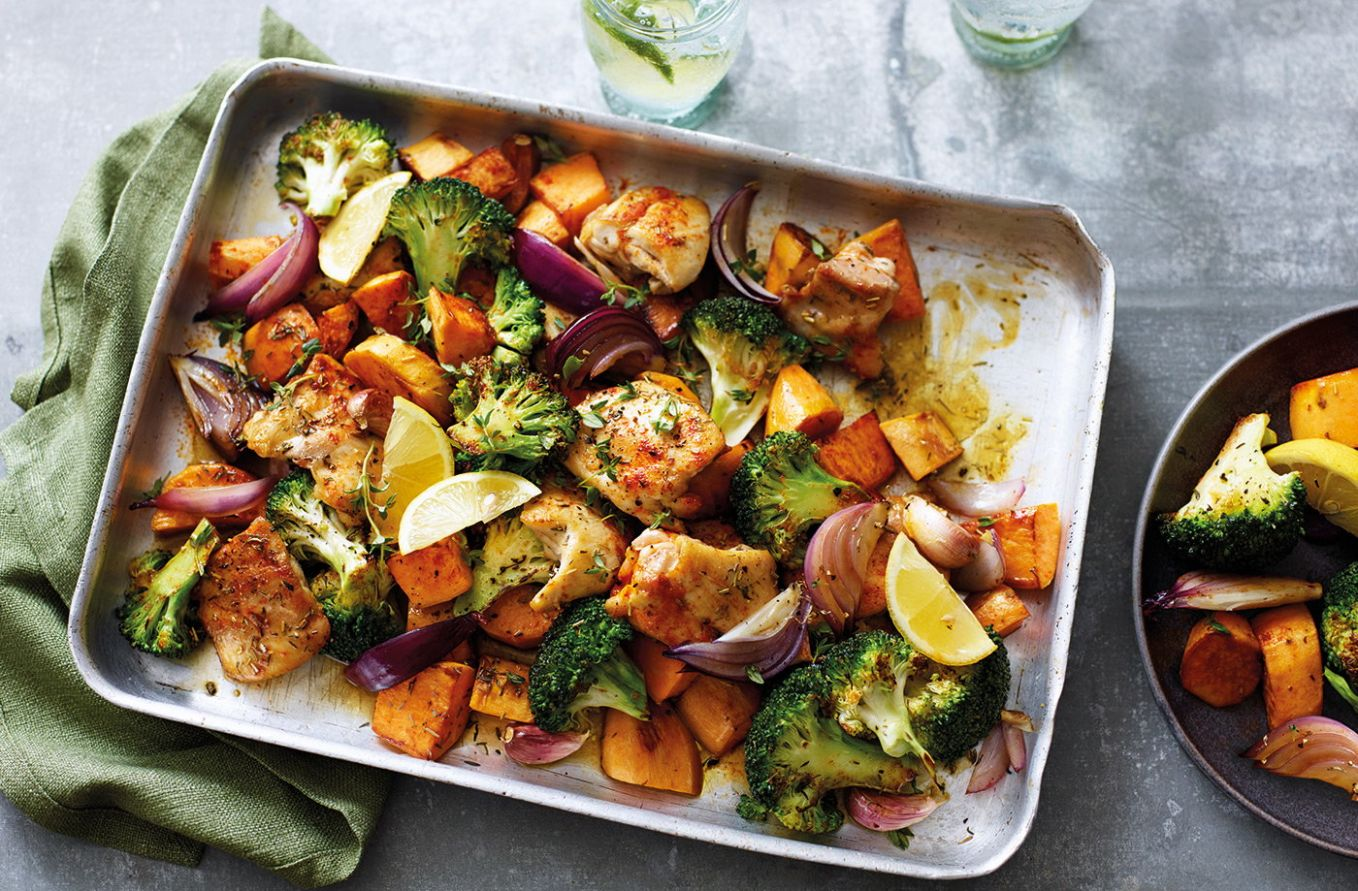 Sweet potato and chicken traybake - Recipe Chicken Zucchini Sweet Potato