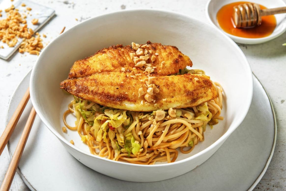 Thai Spiced Whiting with a Noodle and Cabbage Stir-Fry - Recipe Fish Noodles