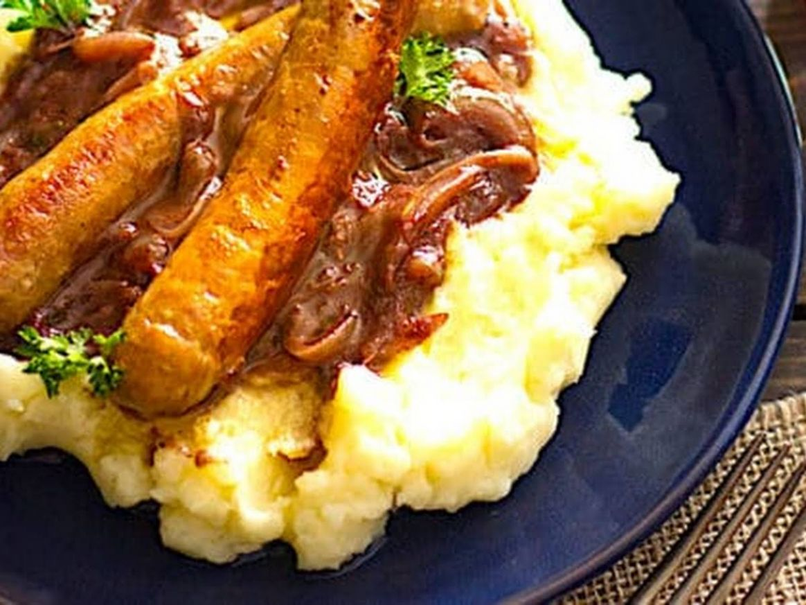 The Hirshon British Bangers and Mash with Onion Gravy - Mashed Potato Recipes Zimbokitchen