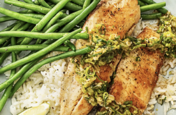 Tilapia with Scallion Sriracha Pesto over Ginger Rice with Green Beans