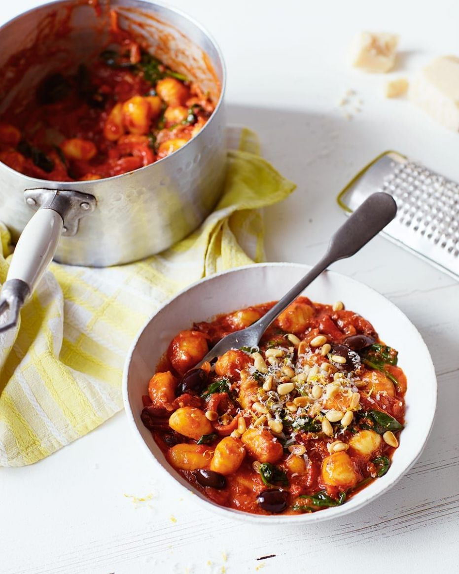 Tomato, spinach and black olive gnocchi - Healthy Recipes Delicious Magazine