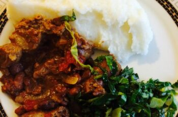Traditional staple Zimbabwean food. Sadza and beef stew | African ...