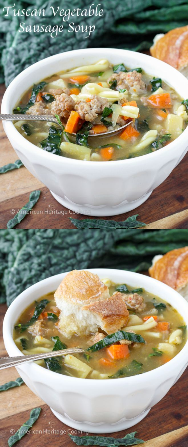 Tuscan Vegetable Sausage Soup - Soup Recipes American