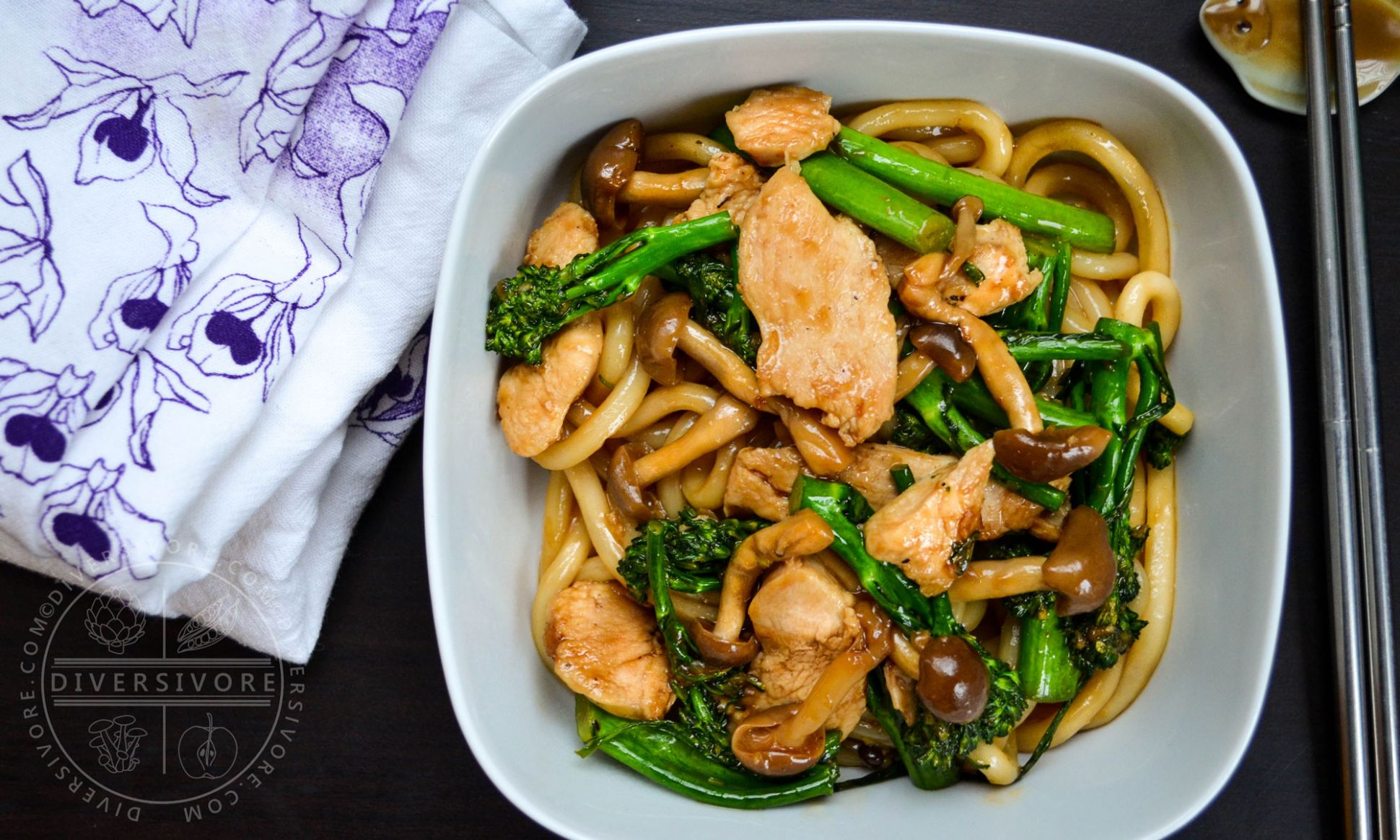 Udon Noodles with Chicken, Broccolini, and Shimeji Mushrooms - Recipe Chicken Udon Noodles