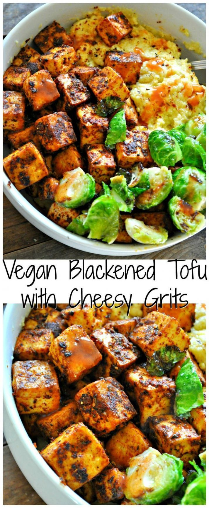 Vegan Blackened Tofu with Cheesy Grits - Vegetarian Recipes On Pinterest